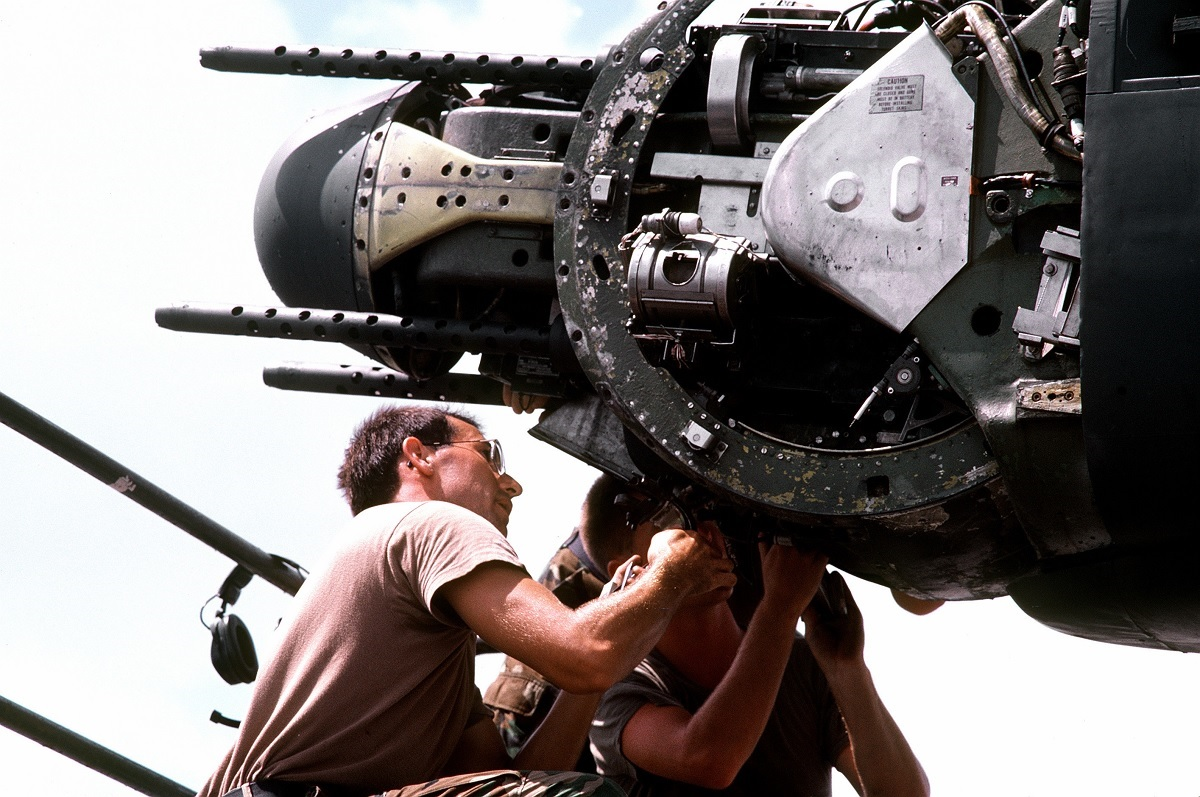 Staff Sgt. Brian D. Land checks a .50-caliber tail turret gun on a B-52G Stratofortress aircraft during Operation Desert Shield
