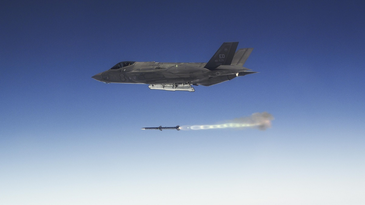 An F-35 fires an AIM-120 near NAWS Point Mugu during a recent WDA testing surge