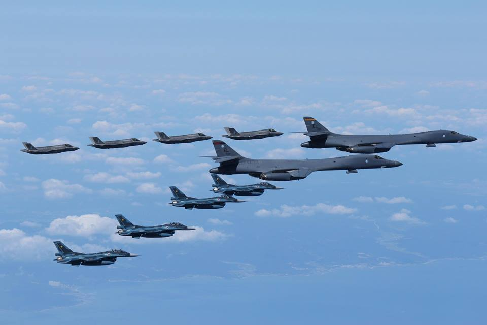 ROKAF, JASDF, USMC and USAF aircraft conduct show of force in response to North Korea IRBM launch