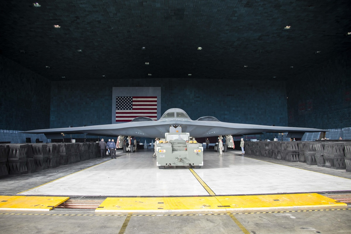 B-2 Spirit stealth bomber enters the benefield anechoic facility for the first time