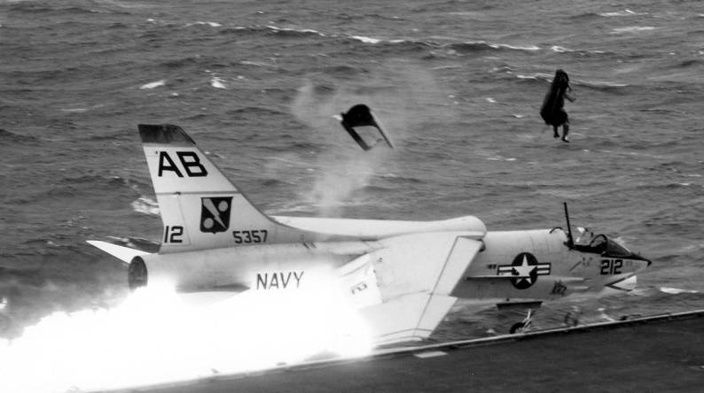 The story of the angled flight deck and the photos of this famous F-8 crash landing on USS Franklin D. Roosevelt
