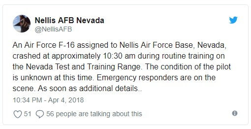 Breaking: USAF F-16 crashes at Nellis Air Force Base