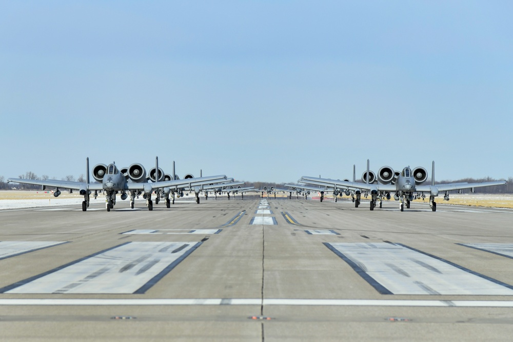107th Fighter Squadron A-10 Warthogs conduct Massive Elephant Walk at Selfridge Air National Guard Base