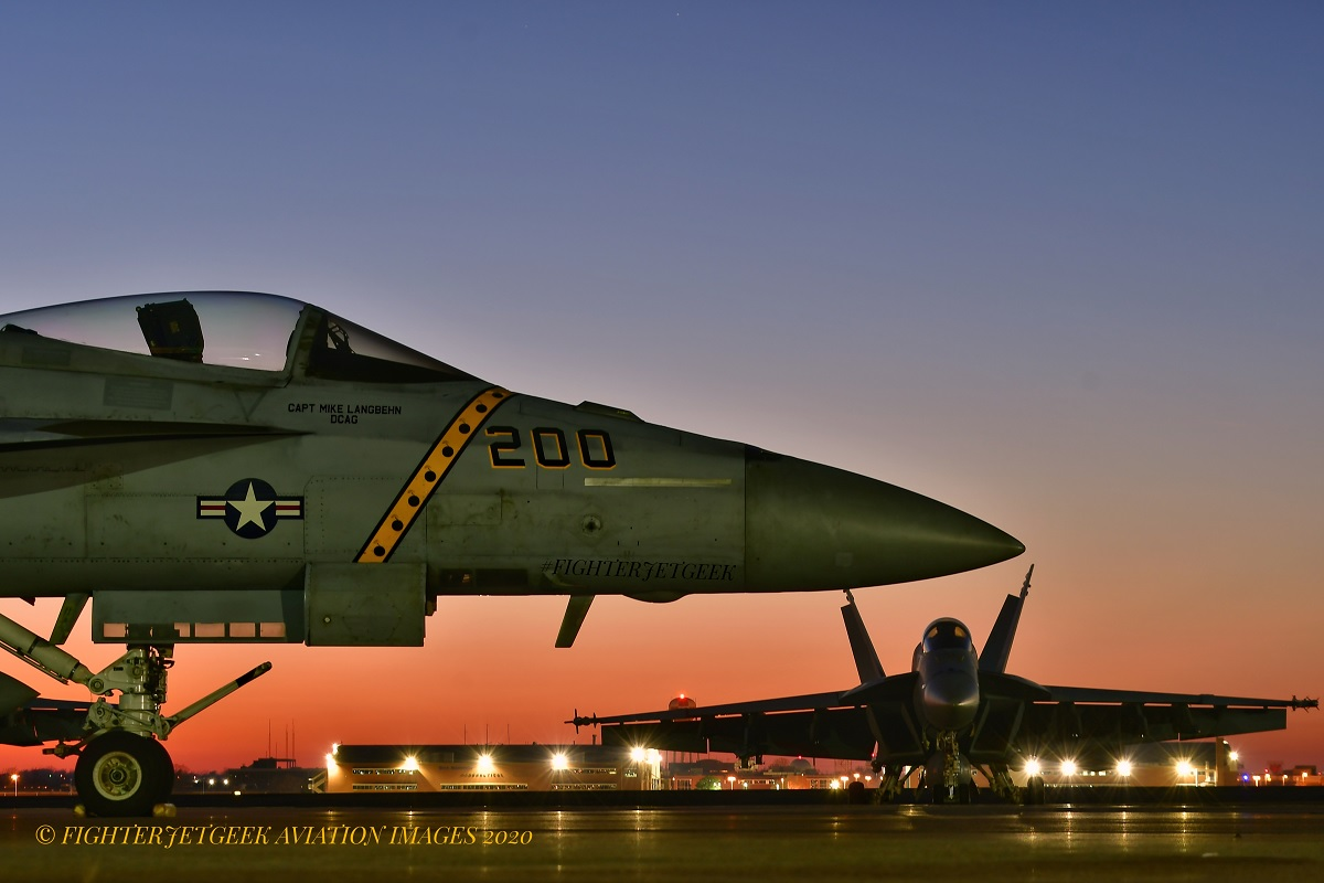 Here are some cool Night Photos of New VFA-31 Tomcatters F/A-18E CAG Aircraft