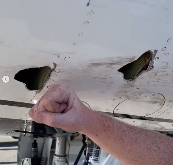 These Two Giant Holes are the result of a Scary Bird Strike Experienced by Thunderbirds Lead Solo during Practice Flight Demonstration in Colombia