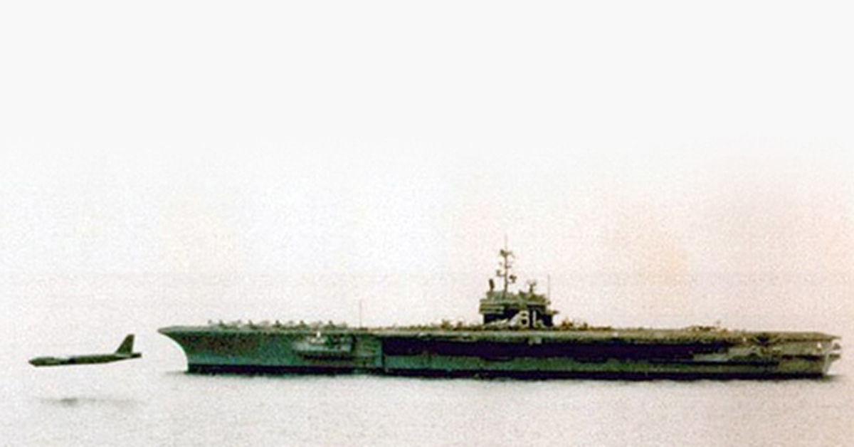 That time a USAF B-52 Strategic Bomber did a fly-by below the flight deck of USS Ranger Aircraft Carrier