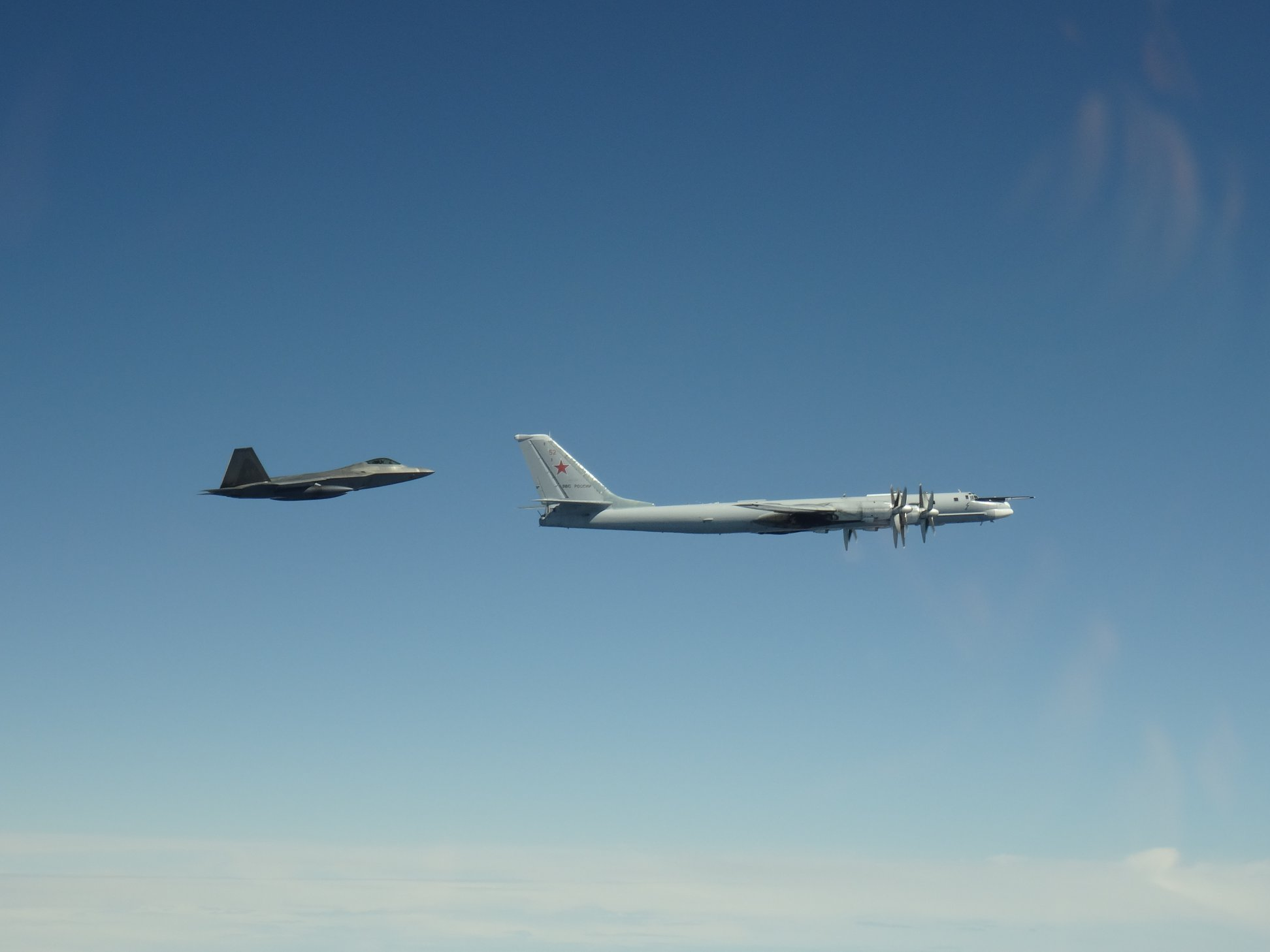 NORAD F-22 Raptors recently intercepted eight Russian aircraft which came within 20/32 nautical miles of Alaskan shores