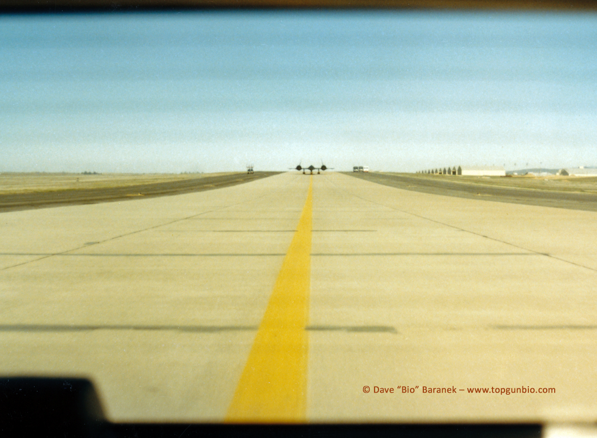 F-14 RIO who visited the Blackbird's Roost at Beale AFB tells the story of two memorable SR-71 takeoffs... And that of his Tomcat's unrestricted climb