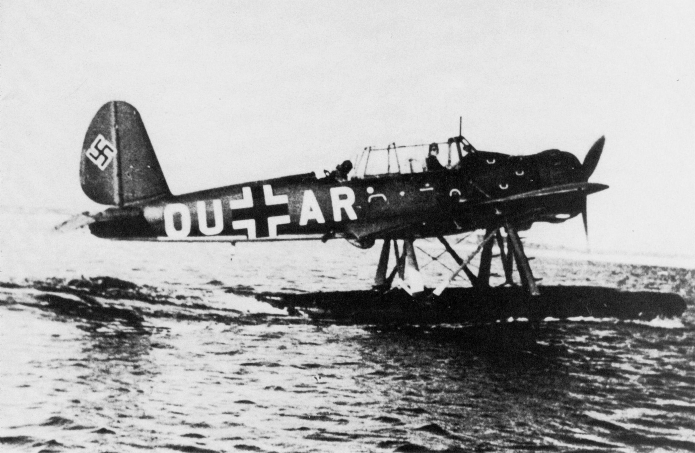 During the Battle of Britain, a lone German Arado Ar 196 reconnaissance seaplane fought against six RAF Spitfires. And shot one down.