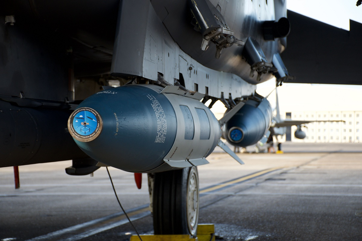 F-15E Strike Eagles demonstrate new tactics for employing modified 2,000-pound GBU-31 JDAMs on maritime targets