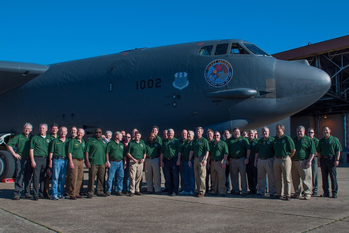 "Twenty-five years after Operation Senior Surprise, aka ""Secret Squirrel"", the aircrew members that kicked off Operation Desert Storm reunited on Barksdale Air Force Base, La. on Jan. 15, 2016. One of the B-52 Stratofortress bombers stationed at Barksdale is displaying the ""Secret Squirrel"" patch to commemorate the anniversary. This 35 hour mission was the first combat use of the Conventional Air Launched Cruise Missile (CALCM). (U.S. Air Force photo by Master Sgt. Dachelle Melville/Released)"