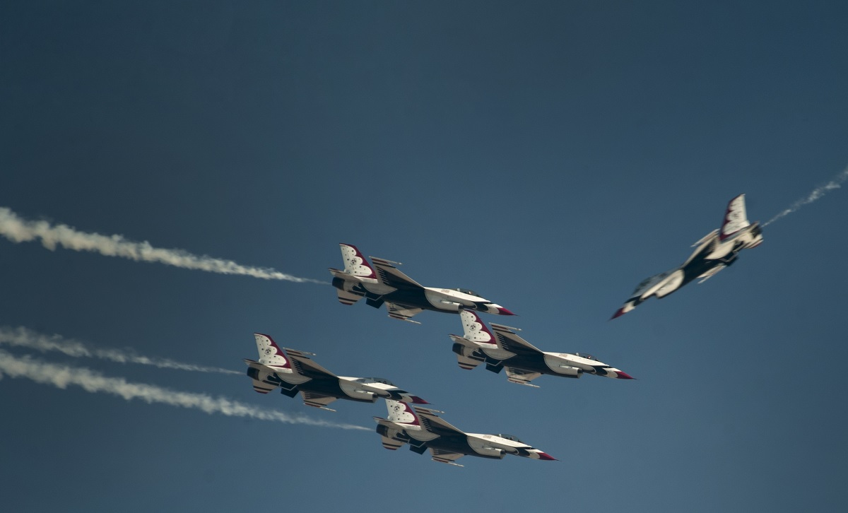 The U.S. Air Force Thunderbirds Air Demonstration Squadron performs in the last show of 2016 during the Aviation Nation air show on Nellis Air Force Base, Nev., Nov. 13, 2016. Aviation Nation hosted spectacular aerial demonstrations, static displays and featured the Air Force Thunderbirds.(U.S. Air Force photo by Airman 1st Class Kevin Tanenbaum/Released)