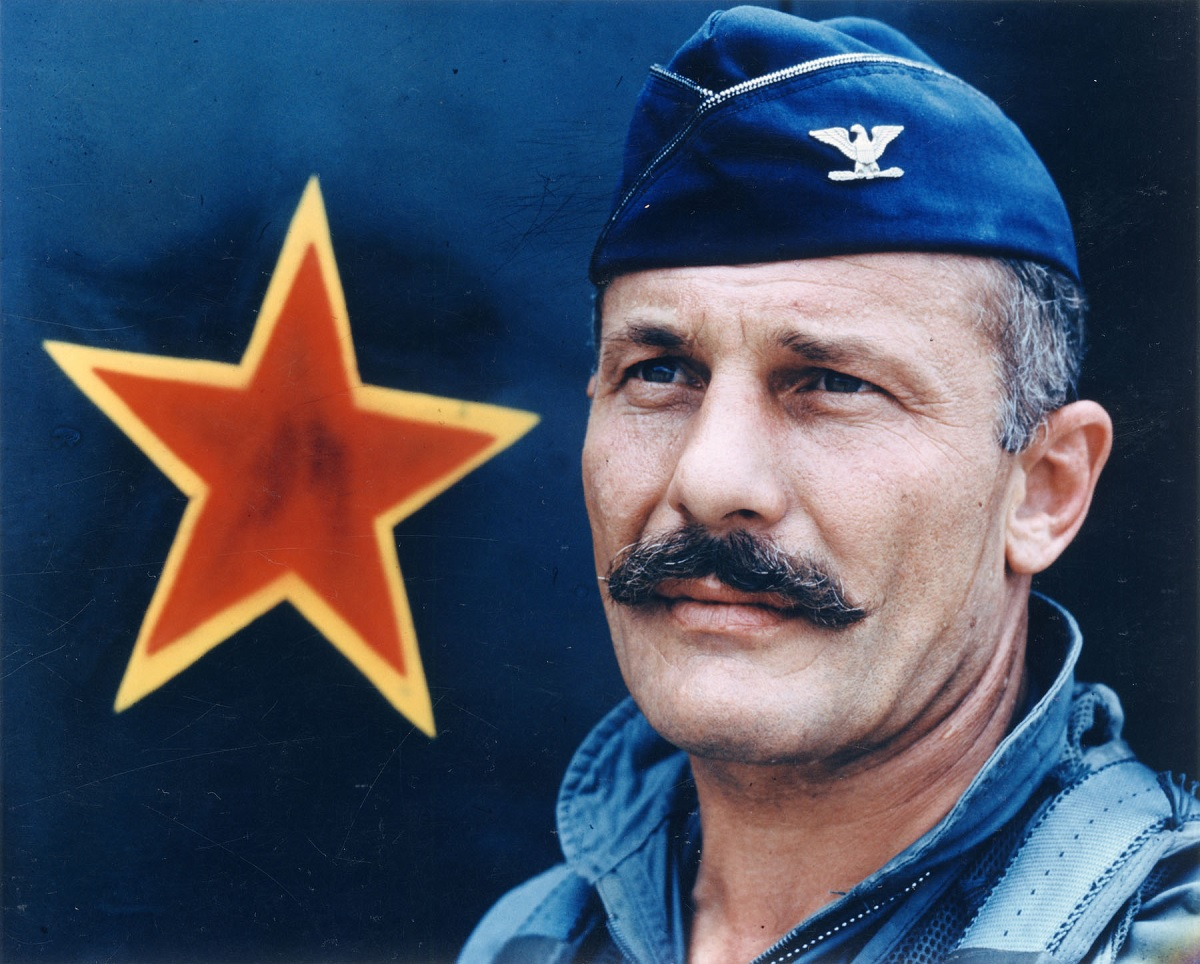 The legendary triple ace Robin Olds and Mustache March tradition