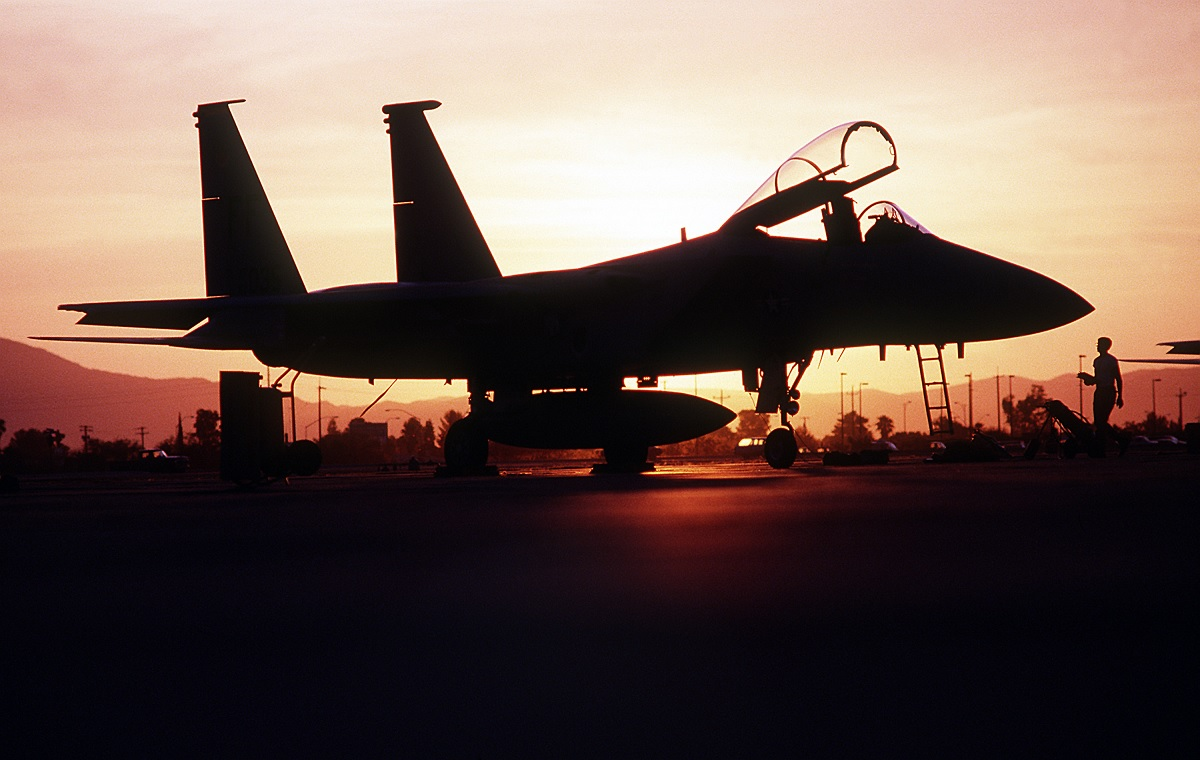 An F-15 Eagle aircraft of the Royal Saudi Air Force takes off during Operation Desert Shield.