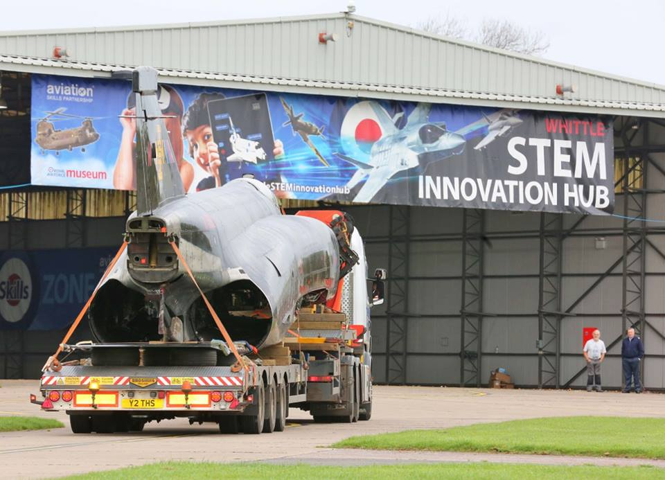 Cold War Era Phantom fighter jet that set speed record arrives by road at RAF Cosford