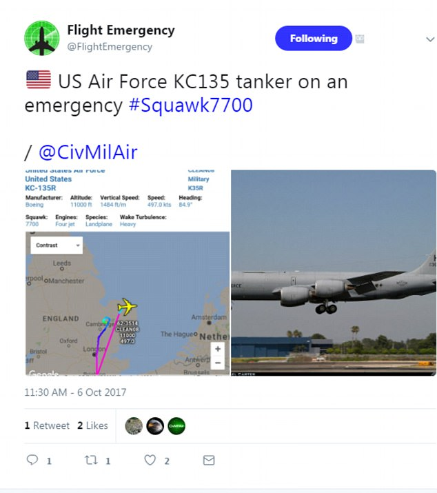 USAF KC-135 tanker lands safely after having experienced auto pilot warning error over UK airspace