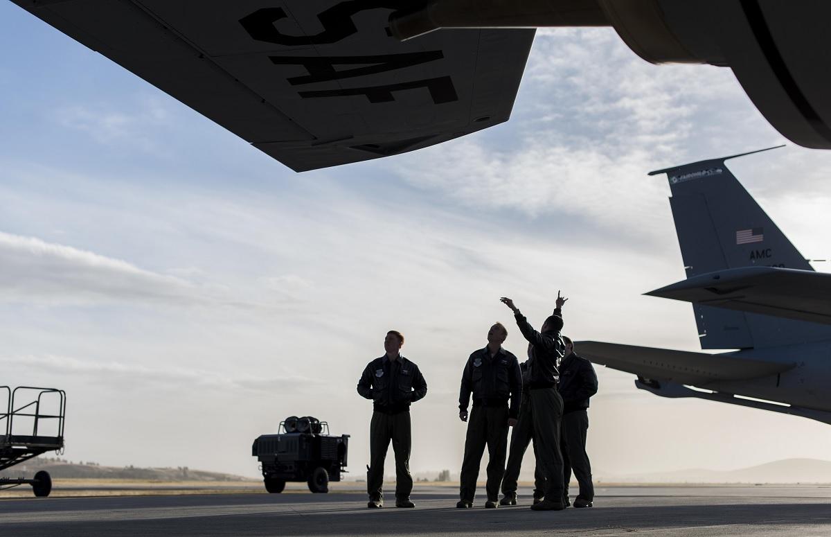 61-year-old KC-135 Stratotanker refuels newest USAF fighters