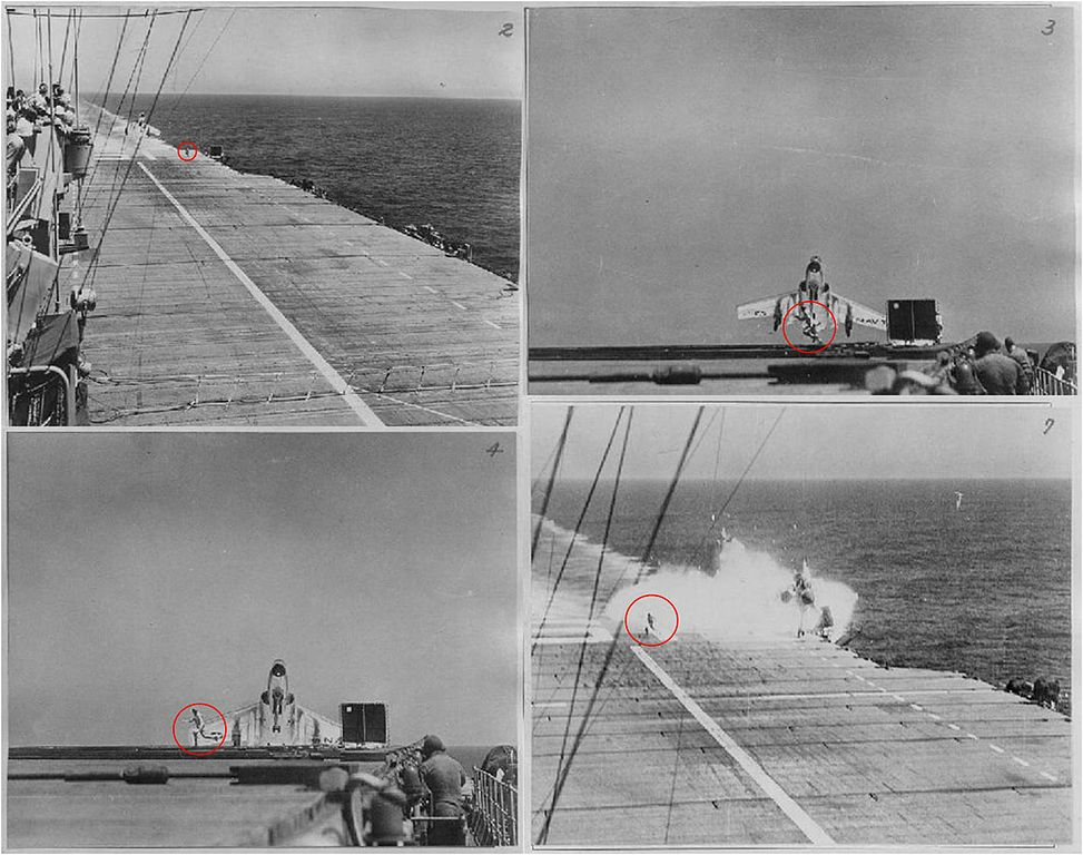 The story behind this famous F7U Cutlass ramp strike