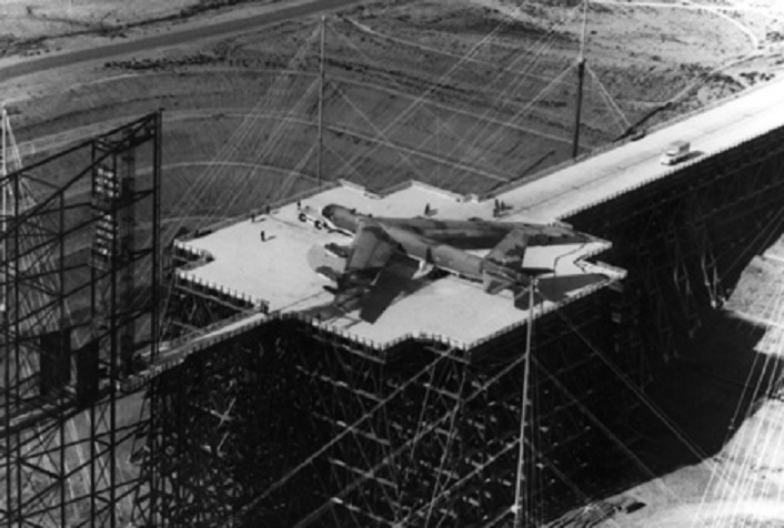 Do you know why this B-52 bomber sits on this giant trestle?