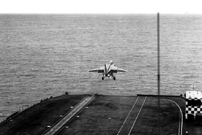 Gorgeous vintage footage features Jaguar M trials aboard Clemenceau aircraft carrier
