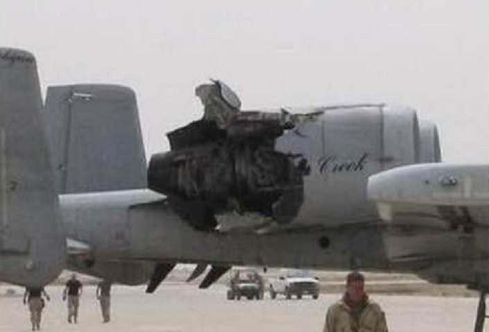 Here's another story of an A-10 Warthog that landed safely with a hole in the cowling of her left engine