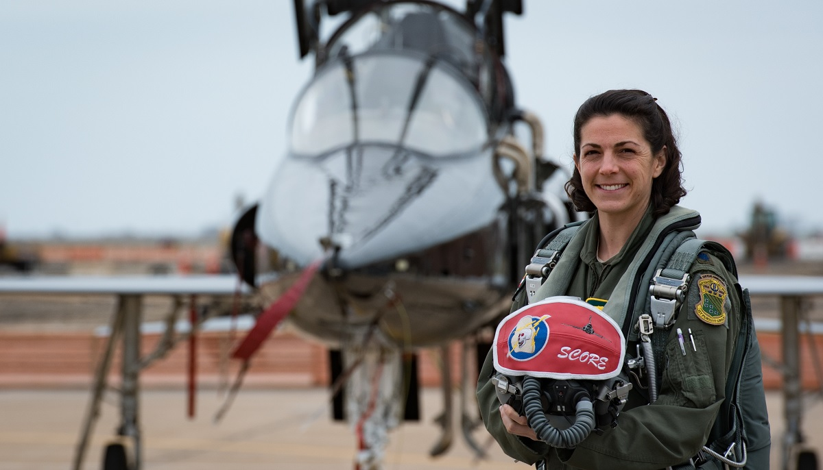 Lt. Col. Cheryl Buehn is the only female T-38 instructor pilot to dogfight against F-22 drivers