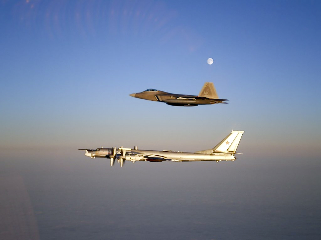 Usaf F 22 Raptors Intercept Russian Tu 95 Bombers Off The Coast Of