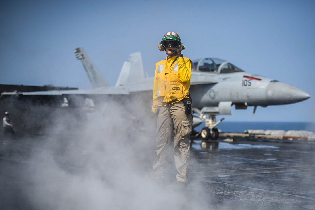 Launch crew of 35 women takes over USS Theodore Roosevelt's flight deck for the first time in the ship's history