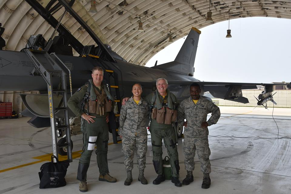 "Col. John ""JB"" Stone, the pilot who devised Operation Bolo, flies with the Wolf Pack one more time"