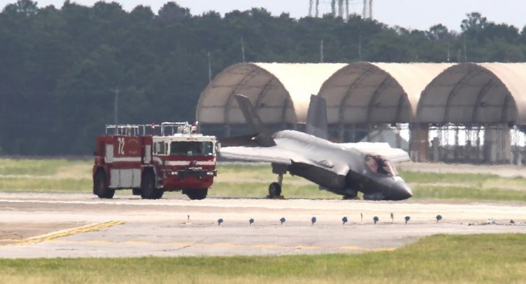 F-35A spotted nose-down on runway at Eglin AFB after in-flight emergency