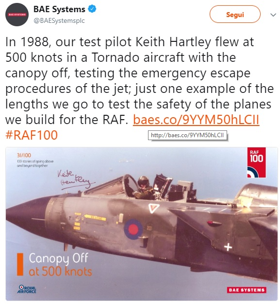 Here's why BAe Test Pilot Keith Hartley flew this Tornado with the canopy off
