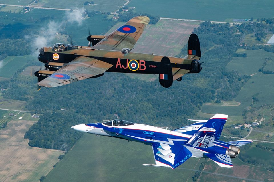 Awesome photos show RCAF CF-18 Demonstration Hornet flying with Canadian Warplane Heritage Museum Lancaster