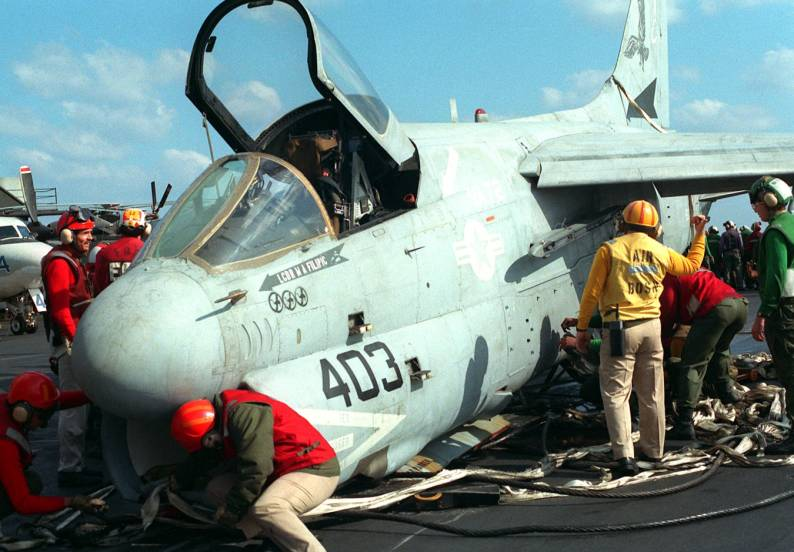 That time a U.S. Navy A-7 Corsair made an emergency barricade landing with live ordnance aboard USS John F. Kennedy