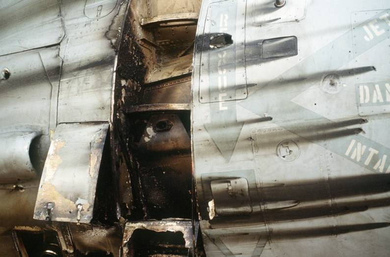 This A-6E was able to RTB in spite of heavy damage by Iraqi defences the first night of Operation Desert Storm