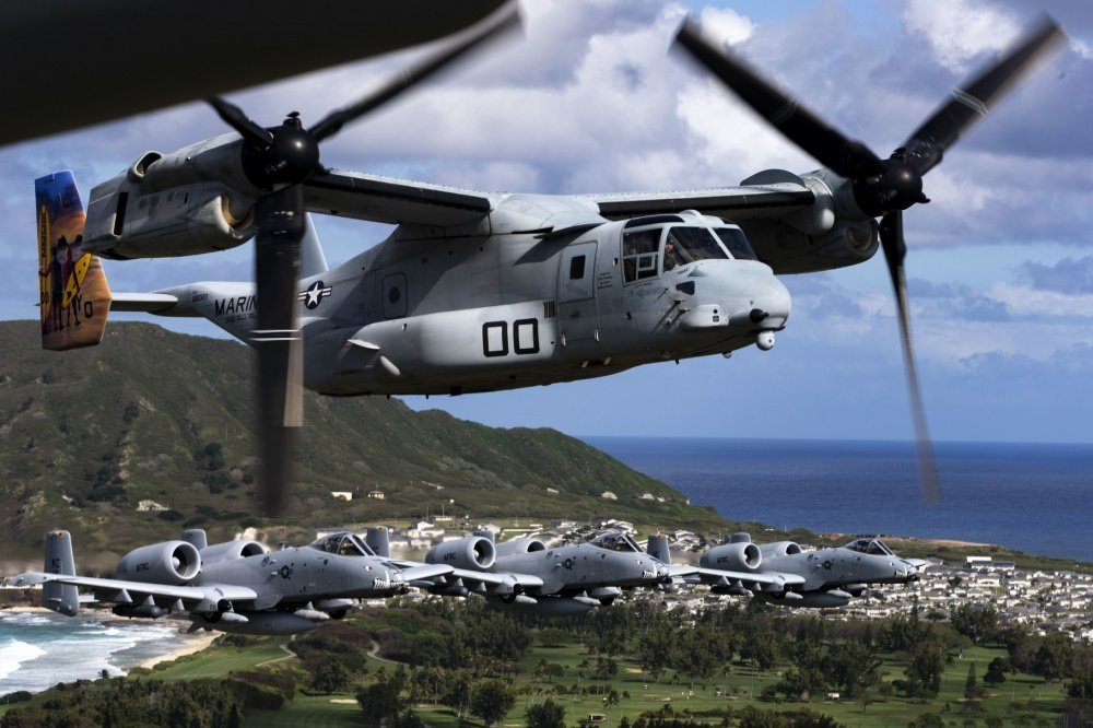 Check out these cool photos of A-10 Hogs escorting MV-22 Osprey over Hawaii