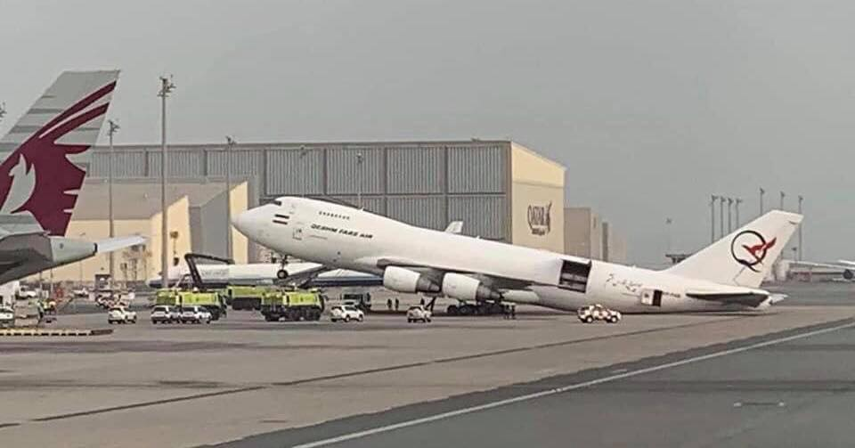 Boeing 747 from Iranian Fars Air Qeshm Airline damaged after Loadmaster unloads cargo from the nose of the airplane first