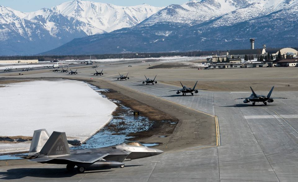 Check out video and photos of 24 F-22 Raptors showcasing Overwhelming Combat Airpower during Elephant Walk at Joint Base Elmendorf-Richardson
