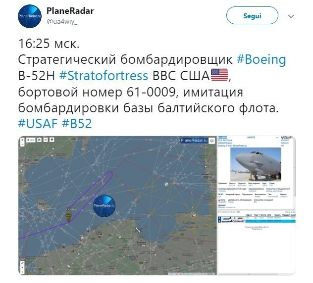 """USAF B-52 flying over the Baltic Sea turned around after being tracked by Russian Air Defense System,"" Russian MoD Says"