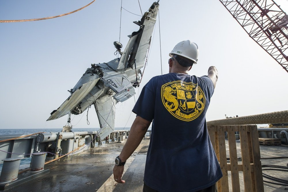 That time the U.S. Navy recovered an F/A-18F Super Hornet wreckage from the sea