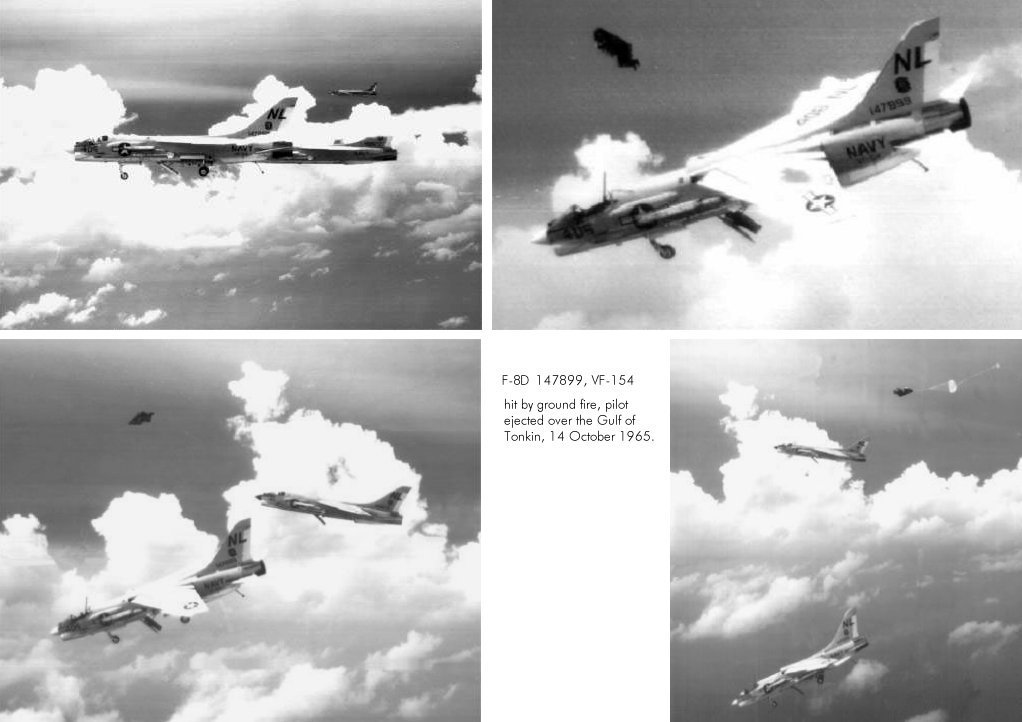 "Check out these photos of an F-8D pilot forced to eject ""Feet Wet"" after being hit over North Vietnam"