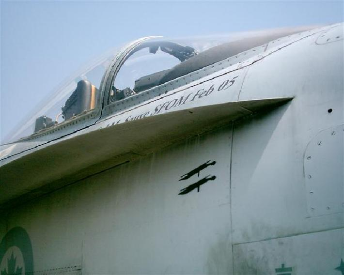 This RCAF CF-18 Hornet features kill marks for broken refueling probes.