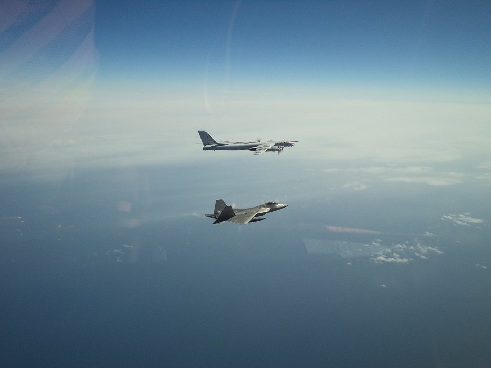 USAF F-22 Raptors intercept Russian Tu-95 bombers escorted by Su-35 fighters off the coast of Alaska