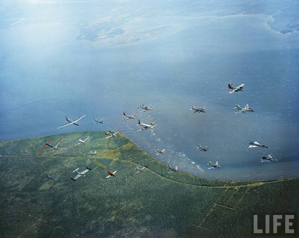 Can you name them all? The 22 different types of aircraft operational in the USAF in 1956 fly in a single formation.