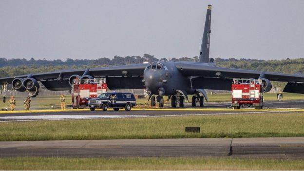 USAF B-52H bomber makes emergency landing at RAF Mildenhall after experiencing an in-flight emergency