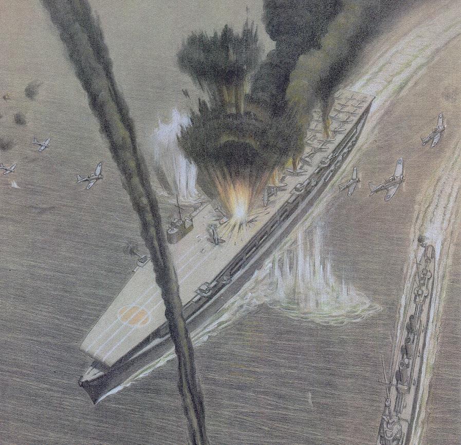 Battle of Midway, sunken Japanese aircraft carrier, Kaga ...