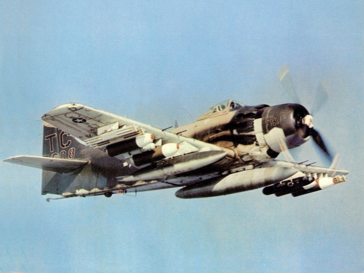 This Cool Photo features the Impressive Ordnance Load Carried by an A-1 Skyraider during a Sandy Mission