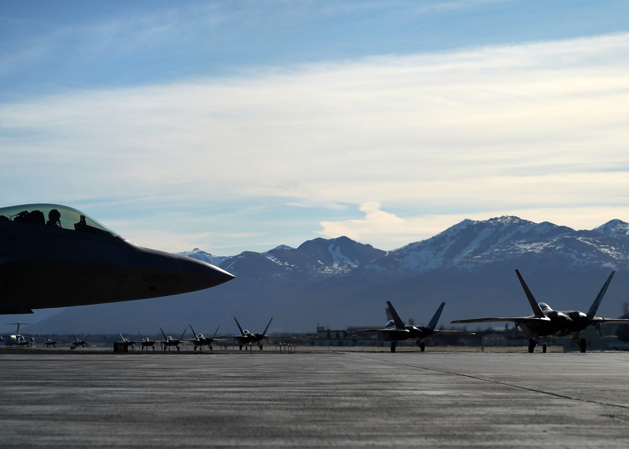 "F-22s, E-3s, HC-130Js, C-17s, and C-12s execute massive ""Moose Walk"" at Joint Base Elmendorf-Richardson"