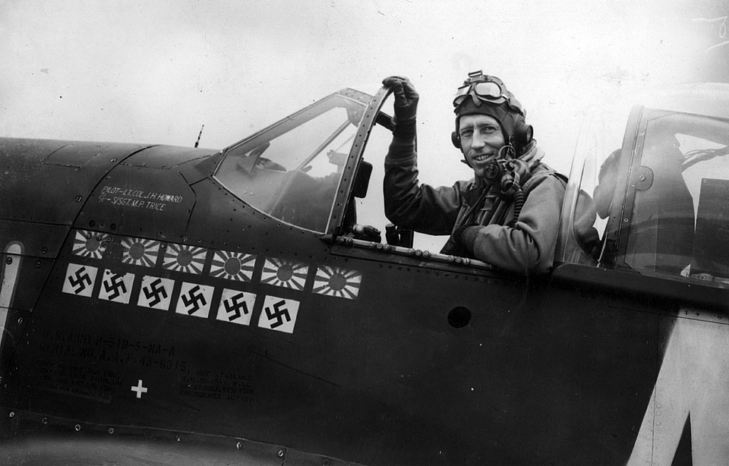 The story of James Howard, the P-51 Mustang pilot who fought alone, for 30 minutes against Luftwaffe fighters to protect B-17 bombers egressing from skies over Germany