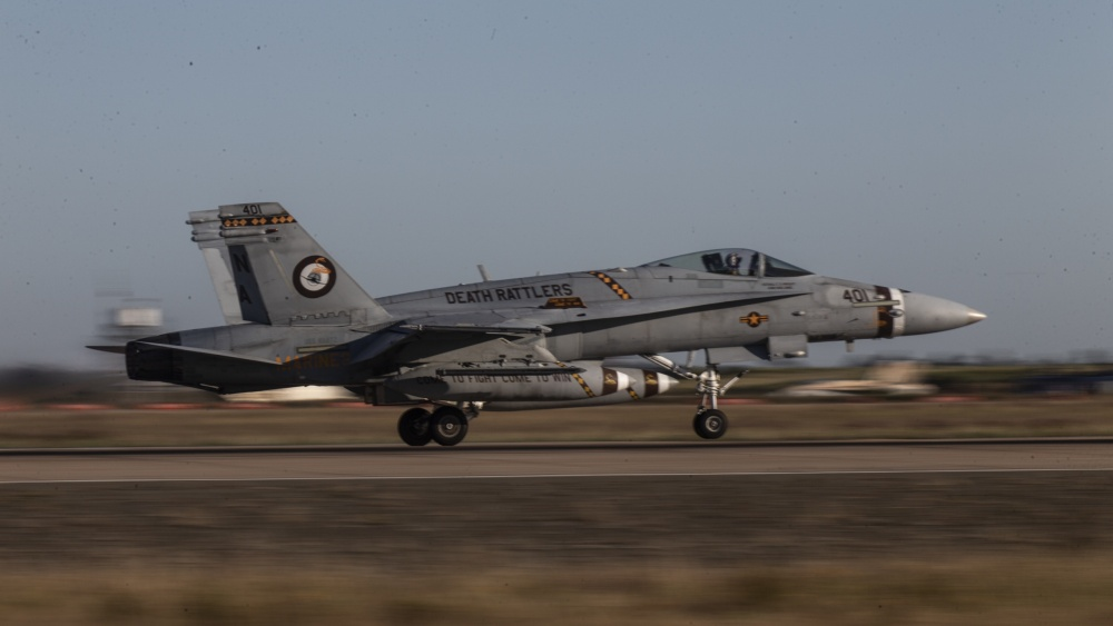 VMFA-323 is carrying out USMC last deployment to an aircraft carrier for F/A-18 Hornet strike fighters