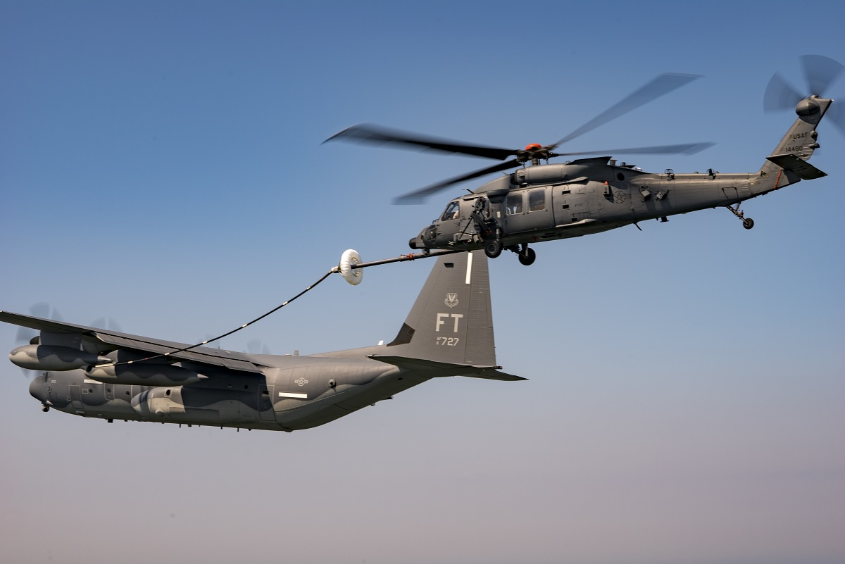 First ever aerial refueling for HH-60W Jolly Green II combat search and rescue helicopter